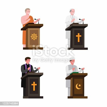 istock Preacher from religion in podium collection set. cartoon flat illustration editable vector isolated in white background 1225745364