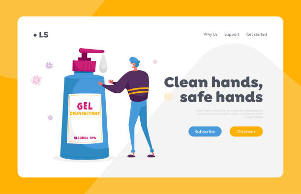 Precautionary Hygienic Measures Coronavirus Protection Landing Page Template. Man Character Washing Hands with Huge Antibacterial Soap Bottle and Ncov Cells Flying around. Cartoon Vector Illustration Precautionary Hygienic Measures Coronavirus Protection Landing Page Template. Man Character Washing Hands with Huge Antibacterial Soap Bottle and Ncov Cells Flying around. Cartoon Vector Illustration middle east respiratory syndrome stock illustrations