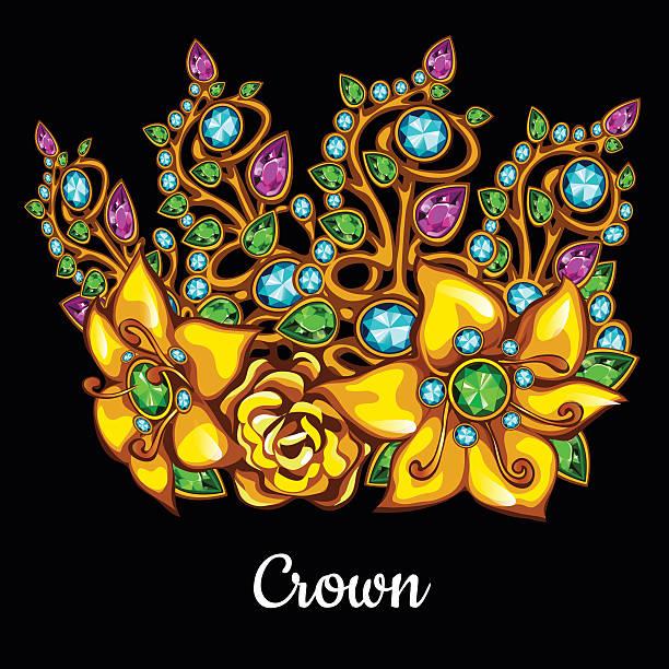edle kopfteil mit perlen und floral ornament - modeschmuck stock-grafiken, -clipart, -cartoons und -symbole