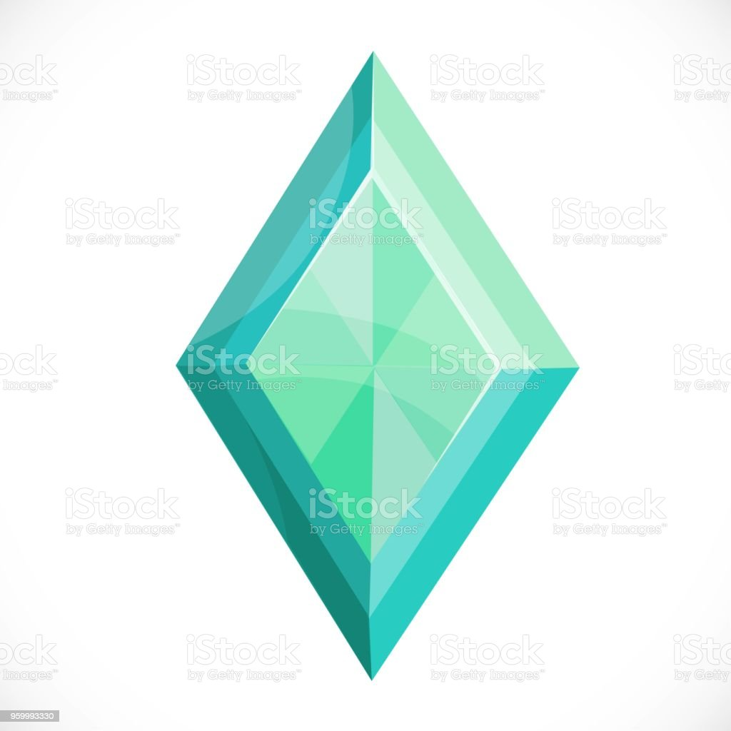 Precious green stone faceted diamond isolated on a white background vector art illustration