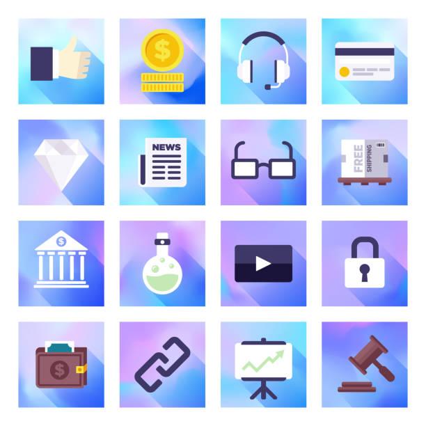 edelmetalle markt volatilität holographic gradient style vector flach-icon-set - splash grafiken stock-grafiken, -clipart, -cartoons und -symbole