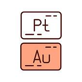 istock Precious metals RGB color icon 1312615702