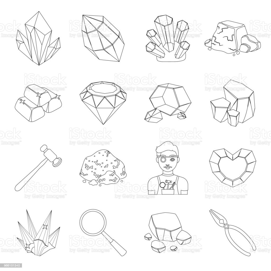 Precious Minerals outline icons in set collection for design. Jeweler and Equipment vector symbol stock web illustration. - Royalty-free Art And Craft stock vector