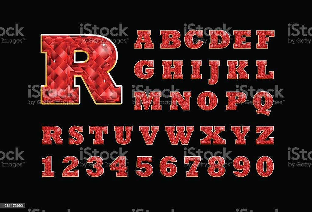 Precious ruby latin alphabet
