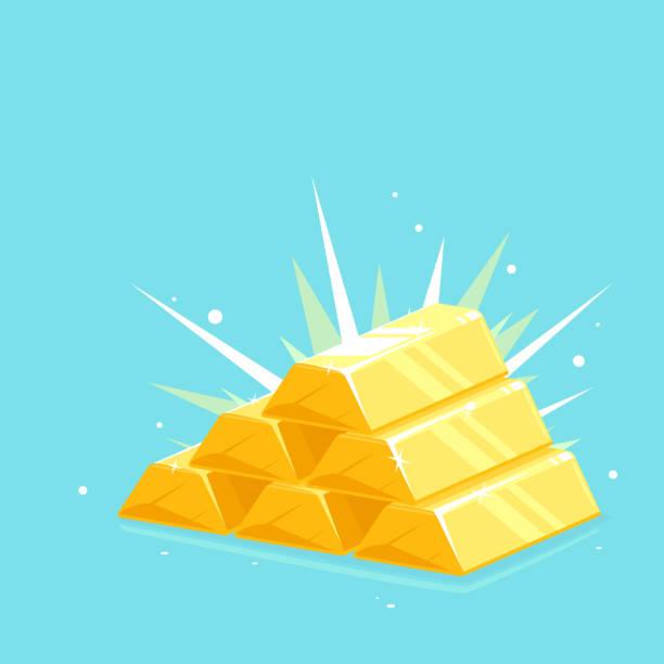Precious shiny gold bars stacked pyramid Gold bars stack pyramid with bright lights, bright golden pyramid stacked with shiny gold bar, wealth concept illustration ingot stock illustrations