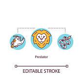 Predator concept icon. African wildlife carnivores animal. Lion head. Food chain apex land predator idea thin line illustration. Vector isolated outline RGB color drawing. Editable stroke
