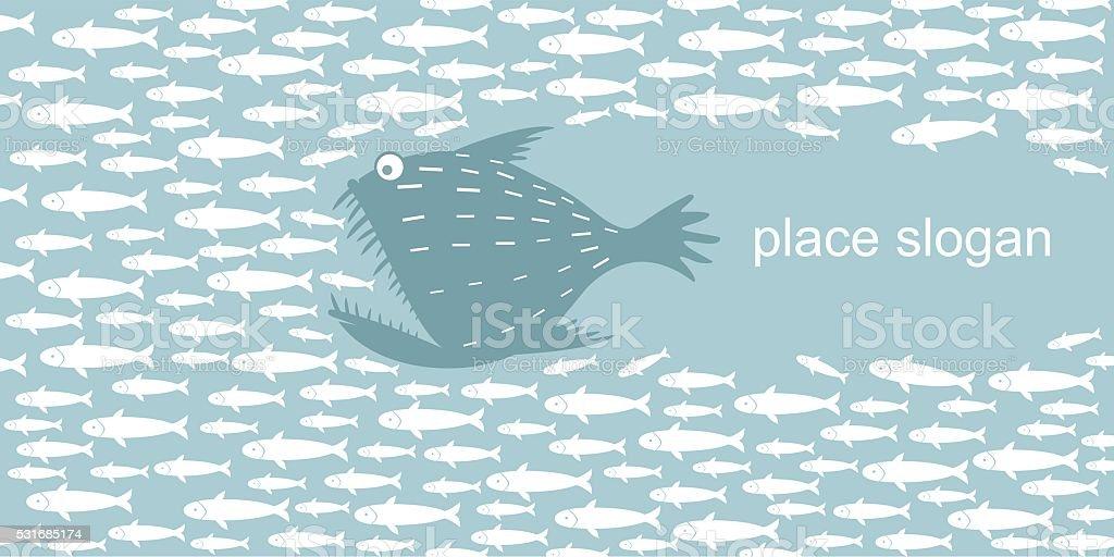 Predatory fish hunts vector art illustration