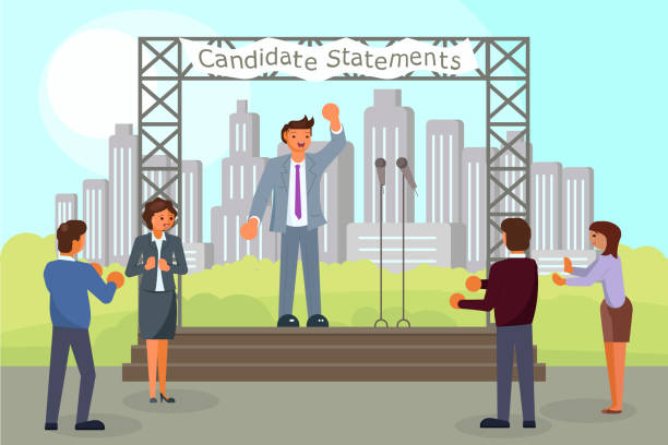 Pre-election campaign concept vector flat style illustration Pre-election campaign concept vector flat illustration. Political candidate making his election statements, giving his pledges to voters from outdoor scene. Public statement, election speech, meeting. presidential candidate stock illustrations
