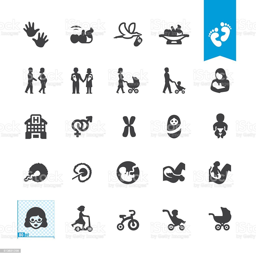 Pregnancy and Babies vector icons vector art illustration