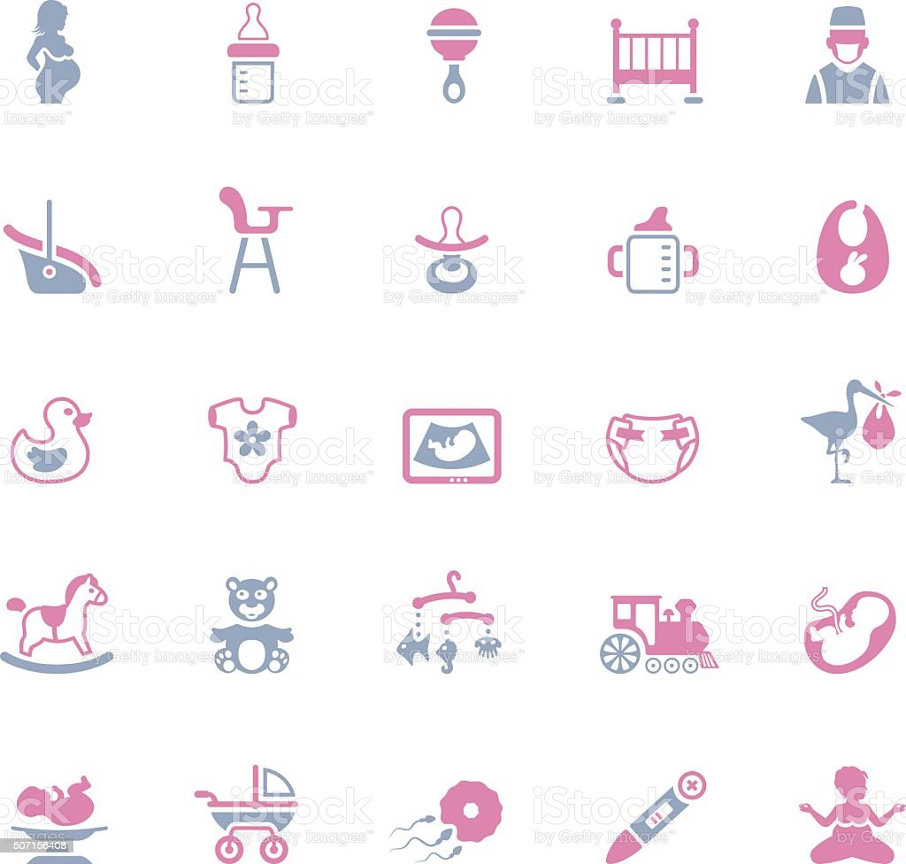 Pregnancy and Baby Icons vector art illustration