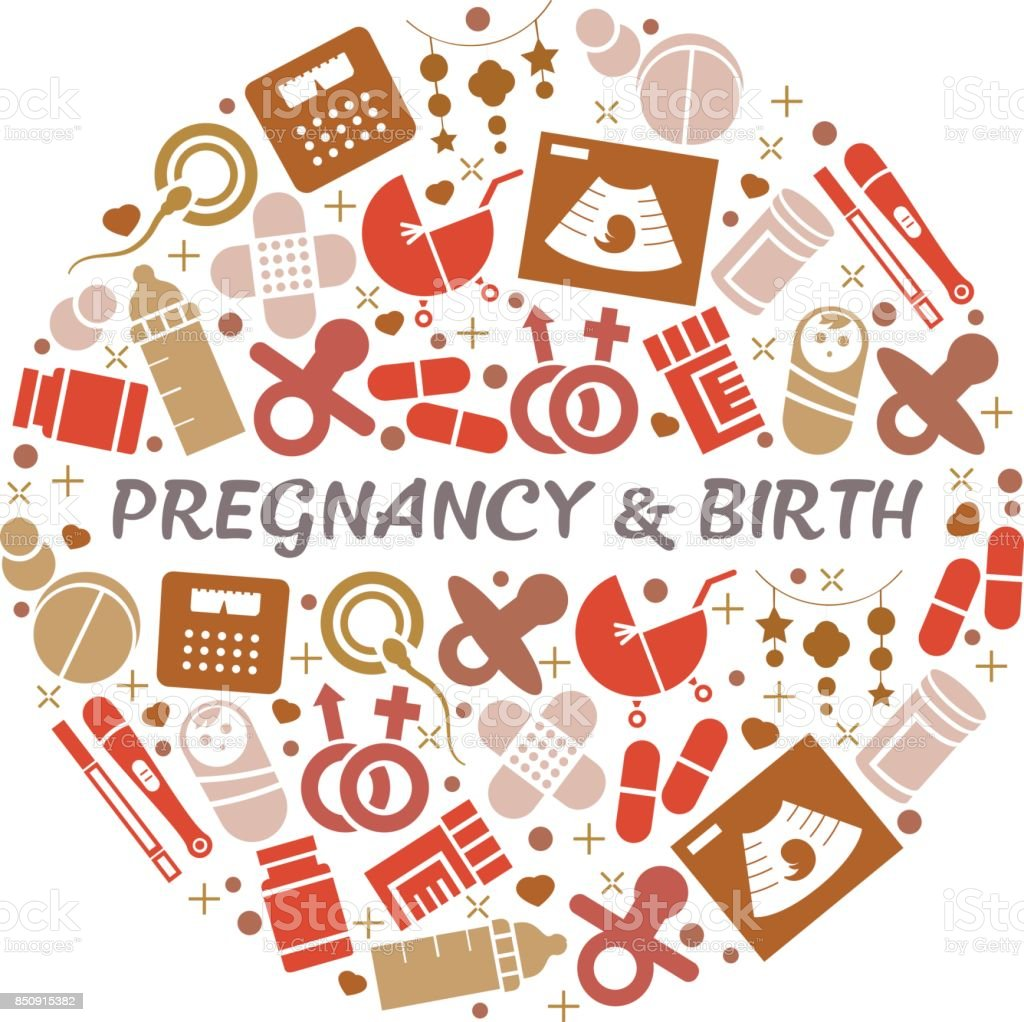 Antecedentes de embarazo y el parto. - ilustración de arte vectorial