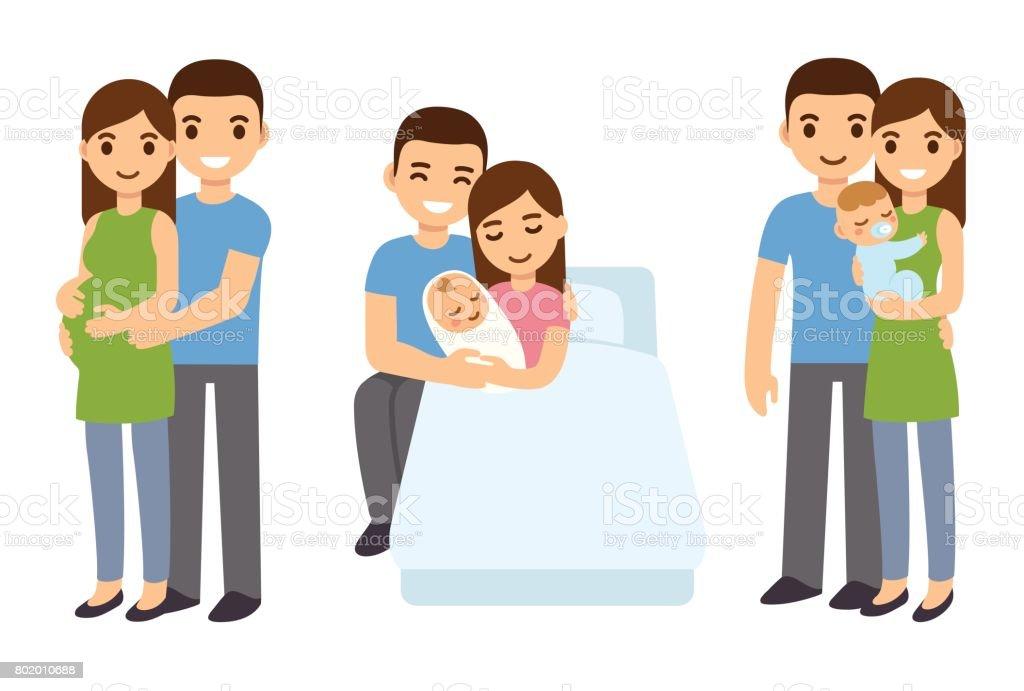 妊娠・出産の家族。 ベクターアートイラスト