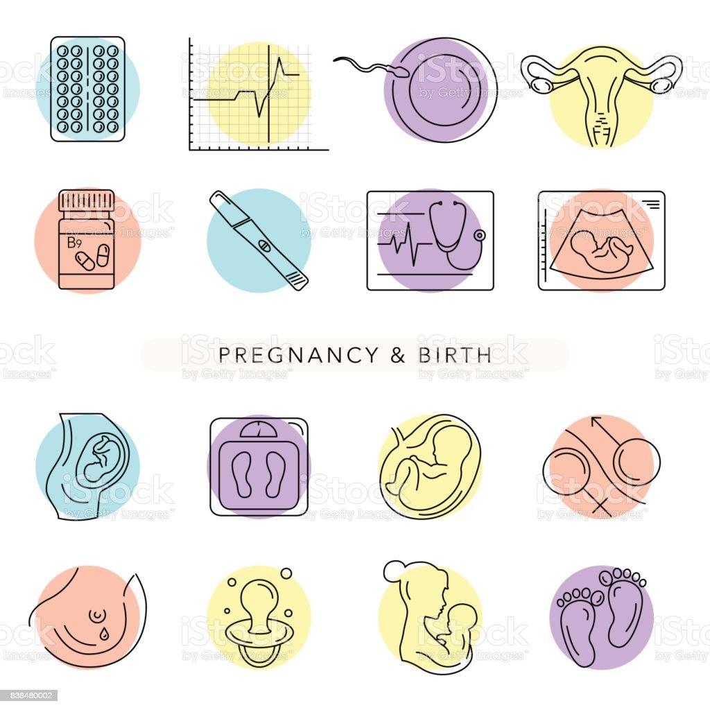 Embarazo y el parto. Iconos de línea del vector. - ilustración de arte vectorial