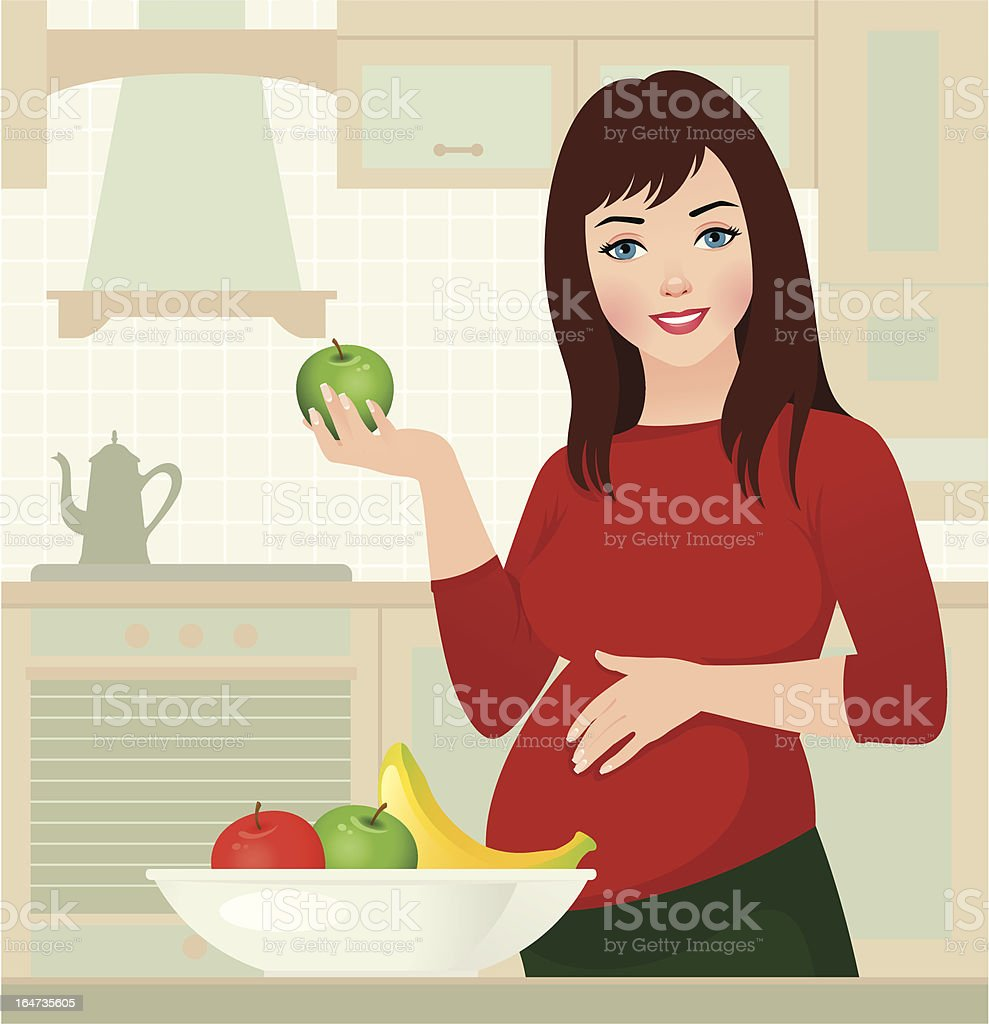 Pregnancy and healthy food royalty-free stock vector art