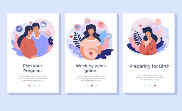 ilustraciones, imágenes clip art, dibujos animados e iconos de stock de embarazo y maternidad. - planificación familiar
