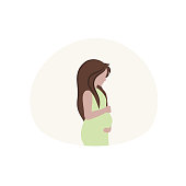 A pregnant girl holds her big belly with her hands while waiting for the baby to be born. Vector flat illustration in cartoon style. Pregnancy, childbirth, and motherhood. The design of the web site