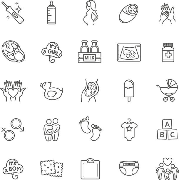 Pregnancy and motherhood vector icons set. Newborn, child care vector art illustration