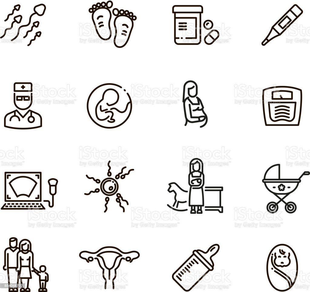 Pregnancy and newborn child line vector icons. Motherhood and infant baby pictograms vector art illustration