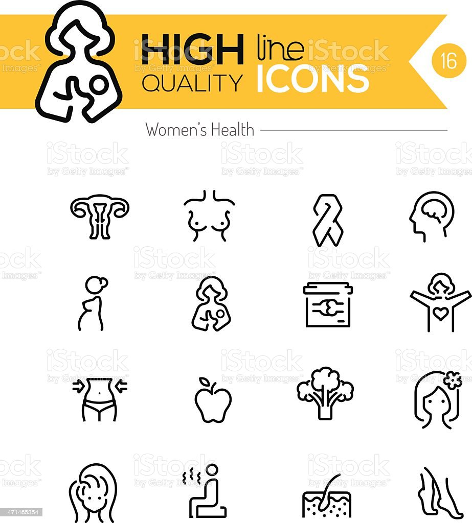 Pregnancy and women health line icons series vector art illustration
