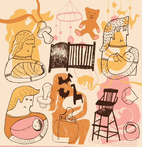 Pregnancy, baby and parenthood Pregnancy, baby and parenthood. Vector illustration bedroom patterns stock illustrations