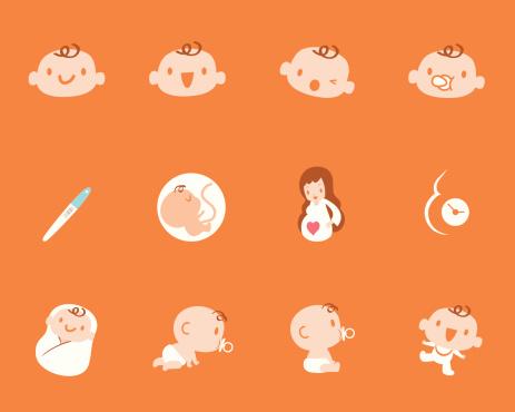 Pregnancy Birth Mother Baby Icon Set