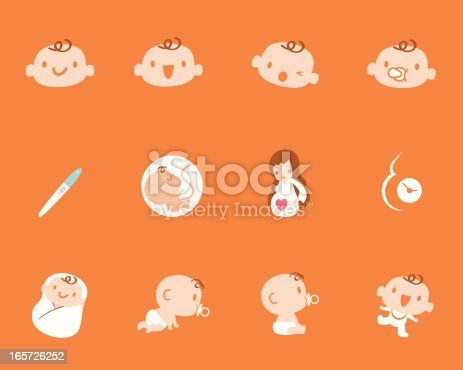 Cute style vector icons about Pregnancy, Birth, Mother, Baby.