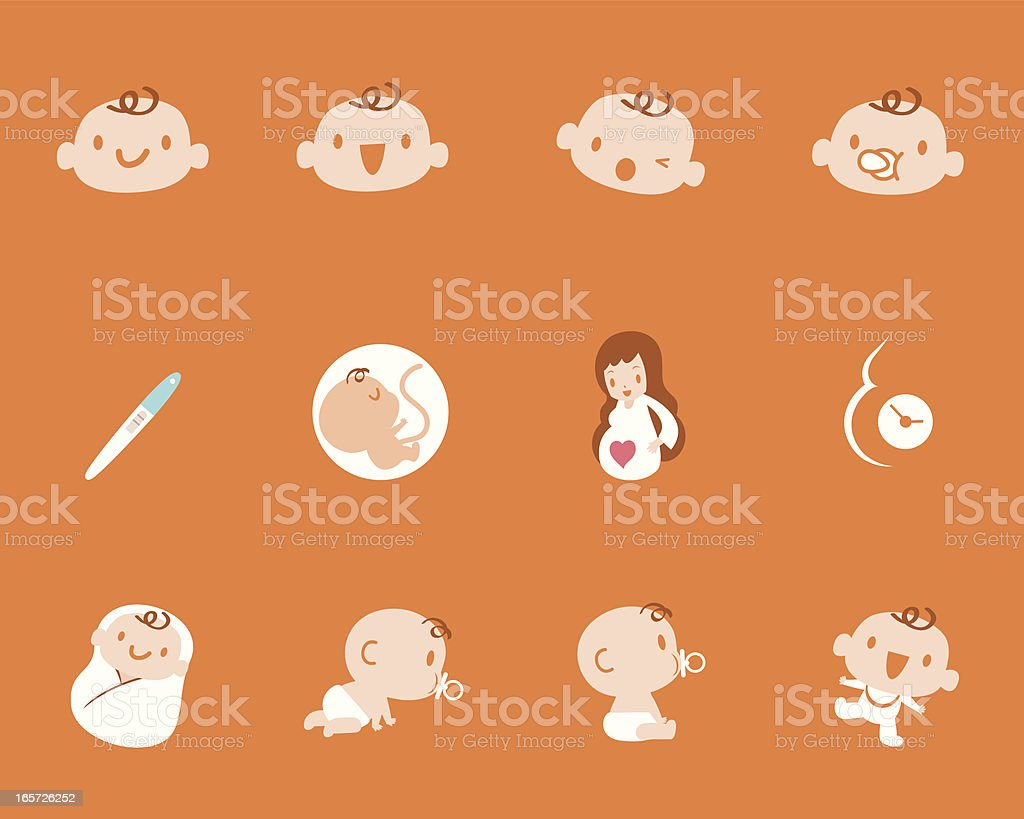 Pregnancy Birth Mother Baby Icon Set vector art illustration