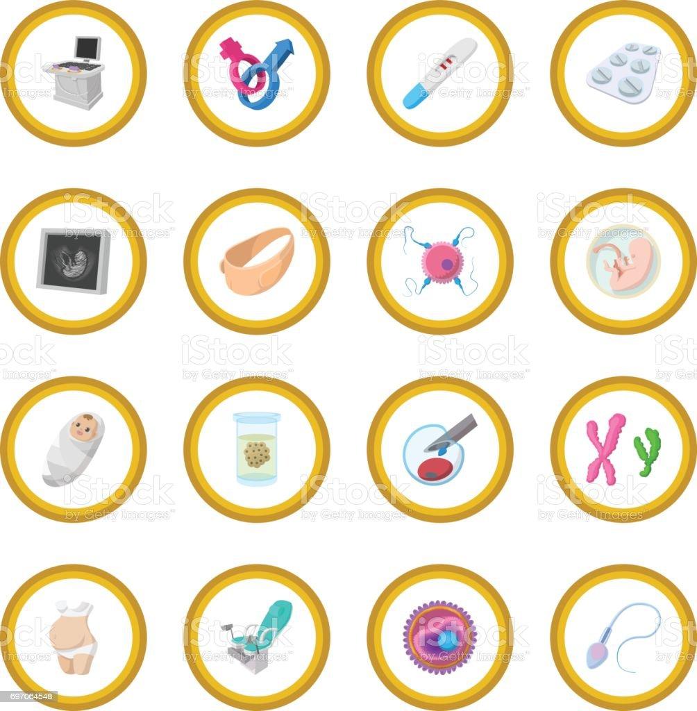 Círculo de icono de dibujos animados de embarazo - ilustración de arte vectorial