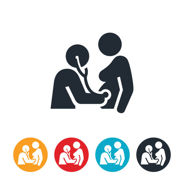 Pregnancy Checkup Icon An icon of a pregnant woman receiving a checkup from her obstetrician using a stethoscope. gynecology stock illustrations