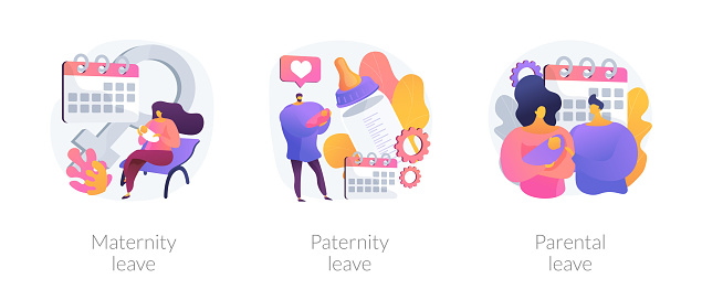 Pregnancy, childbirth and newborn care vacation time vector concept metaphors