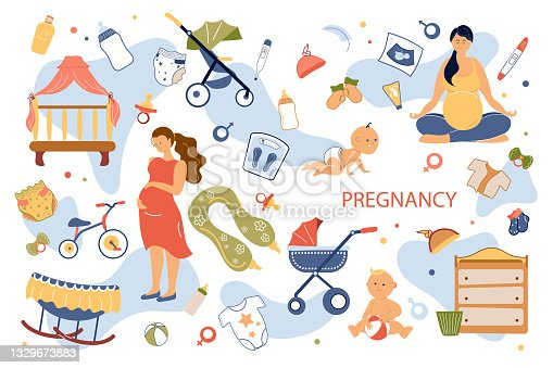 Pregnancy concept isolated elements set