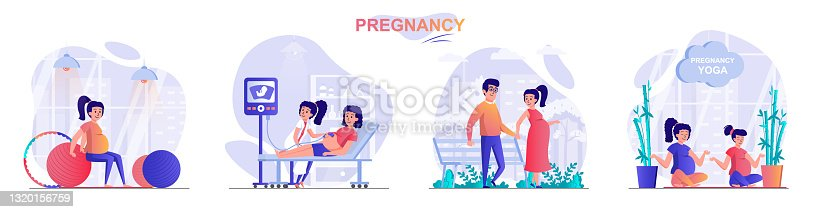 Pregnancy concept scenes set. Pregnant woman exercising with ball or does yoga, walks in park, ultrasound screening. Collection of people activities. Vector illustration of characters in flat design