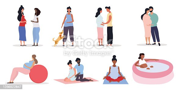 Pregnancy concept with woman doing activities