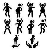 Pregnant woman staying fit and healthy, exercising icons set, pregnancy classes design