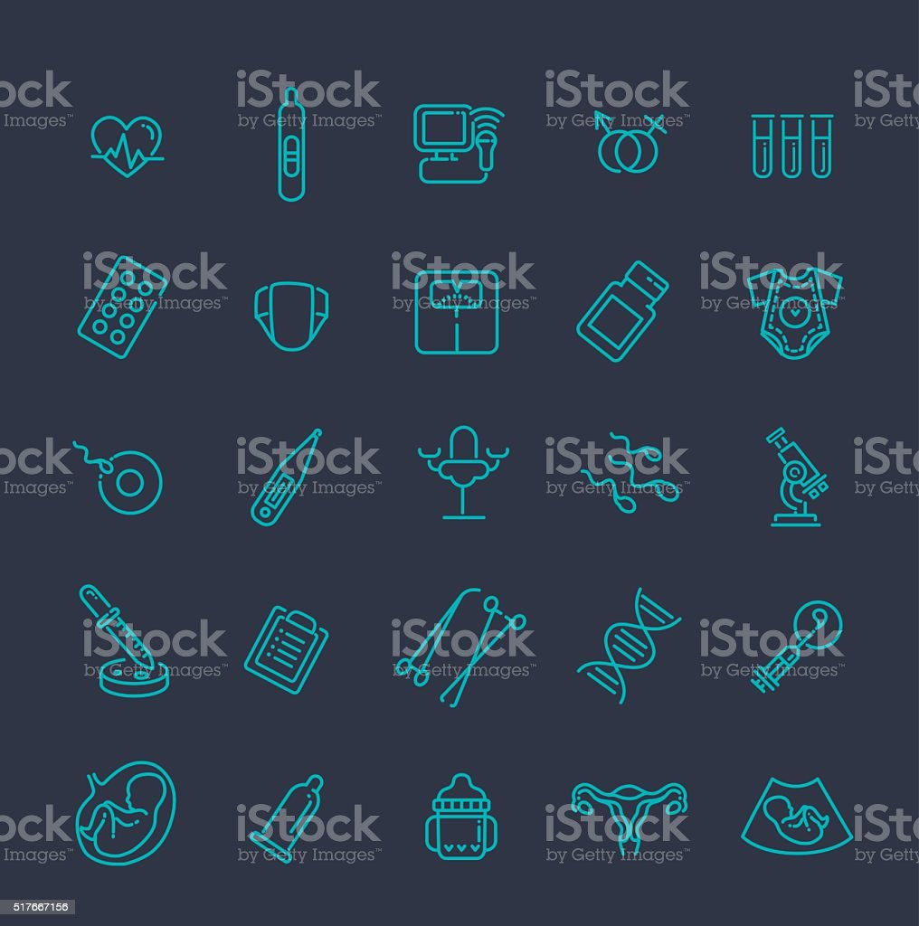 Pregnancy, gynecology, childbirth and motherhood line icons set vector art illustration