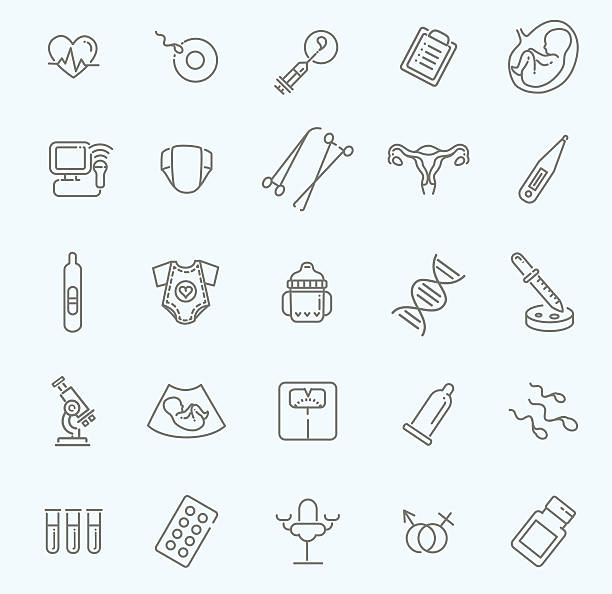 Pregnancy, gynecology, childbirth and motherhood line icons set outline icons gynecology stock illustrations