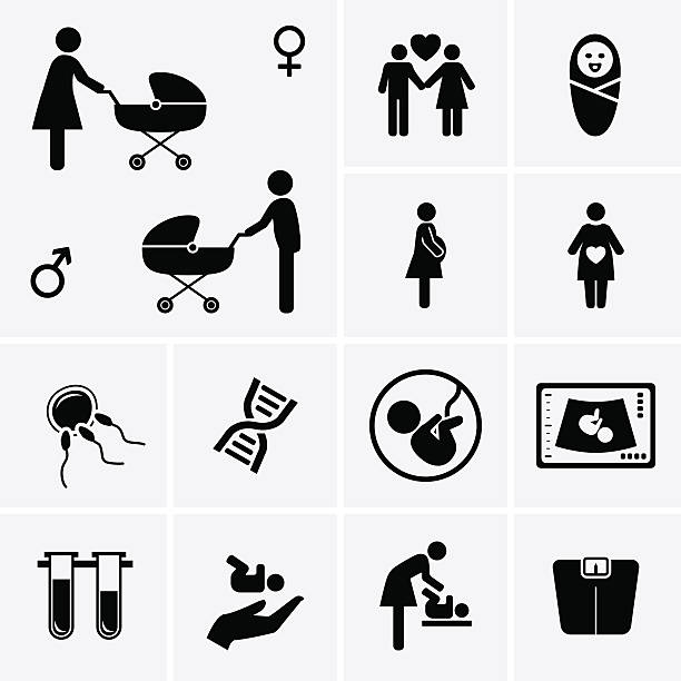 schwangerschaft symbole. geburtshilfe, gynäkologie und geburt, medizin-symbol. - schwangerschaft stock-grafiken, -clipart, -cartoons und -symbole