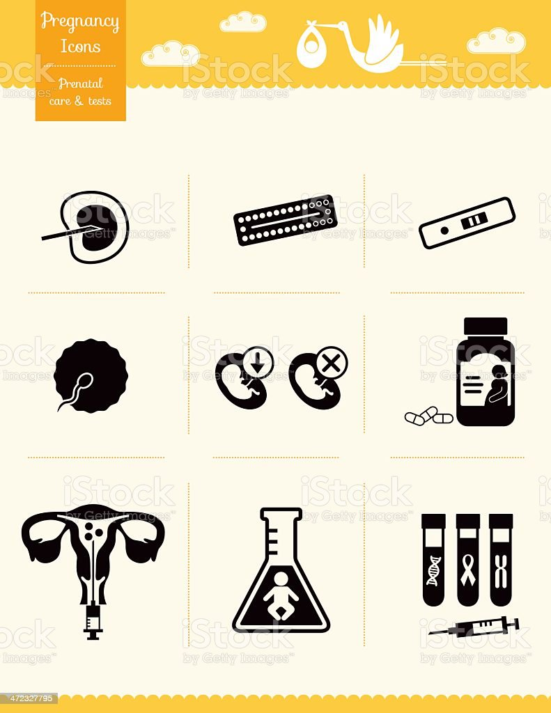 Pregnancy Icons - Prenatal care and tests royalty-free stock vector art