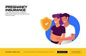 Pregnancy Insurance Concept Vector Illustration for Website Banner, Advertisement and Marketing Material, Online Advertising, Business Presentation etc.