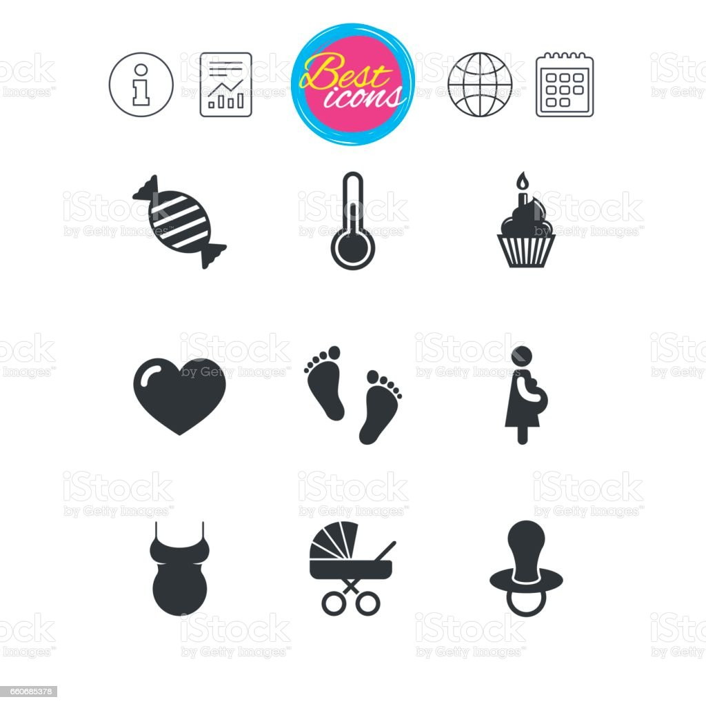 Pregnancy, maternity and baby care icons. vector art illustration