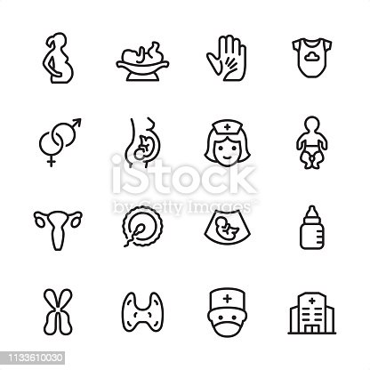 16 line black on white icons / Pregnancy Set #84 Pixel Perfect Principle - all the icons are designed in 48x48pх square, outline stroke 2px.  First row of outline icons contains:  Pregnant, Newborn on the Weights, A Helping Hand, Infant Bodysuit;  Second row contains:  Gender Symbol, Pregnancy, Nurse, Newborn;  Third row contains:  Uterus, Human Fertility, Ultrasound Baby, Baby Bottle;   Fourth row contains:  Chromosome, Thyroid, Obstetrician, Maternity Hospital.  Complete Inlinico collection - https://www.istockphoto.com/collaboration/boards/2MS6Qck-_UuiVTh288h3fQ