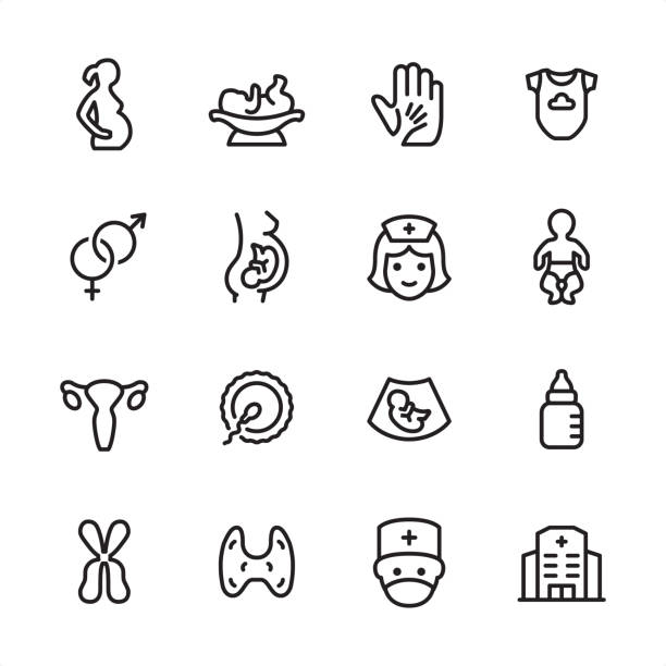 stockillustraties, clipart, cartoons en iconen met zwangerschap-outline icon set - vrouwenkwesties