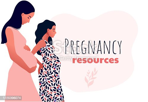 istock Pregnancy resources type. Sad pregnant female characters. 1220396074