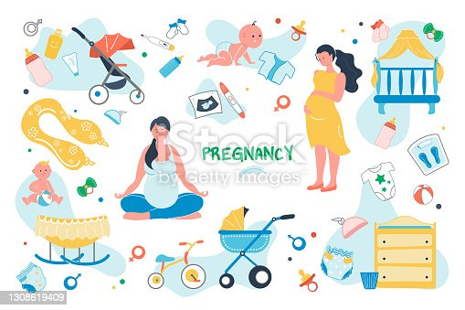 Pregnancy set isolated elements. Pregnant woman preparing for birth of child. Baby care symbols bundle - crib, stroller, diapers, bottle, pacifier, clothes. Vector illustration in flat cartoon design