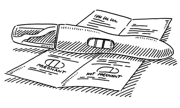 ilustraciones, imágenes clip art, dibujos animados e iconos de stock de dibujo de la prueba de embarazo - planificación familiar