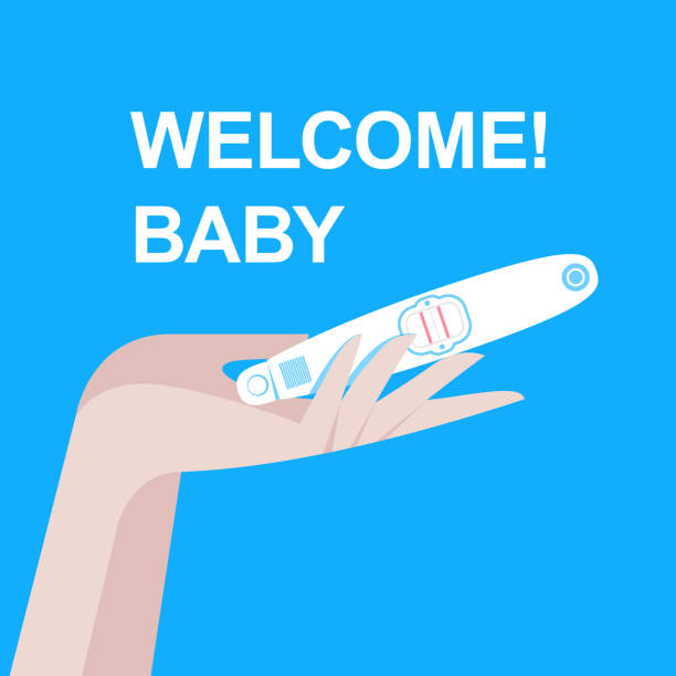 ilustraciones, imágenes clip art, dibujos animados e iconos de stock de prueba de embarazo en la mano femenina con resultado positivo como dos líneas. planificación de un concepto de bebé, maternidad y atención médica. mujer que se está probando el embarazo. nueva vida, nueva familia. ilustración vectorial plana - planificación familiar