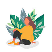 Pregnant woman on background with green leaves. Young girl expecting baby resting in park. Vector pregnancy illustration.