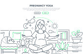 Pregnancy yoga - modern line design style web banner on white background with copy space for text. High quality composition with a woman meditating in lotus position at home, images of cradle, candles