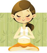 Vector illustration of a pregnant woman practicing yoga and mediation. This delightful character is great for any pregnancy health related projects.  You can edit the hair/eye color easily in Adobe illustrator or similar programs.