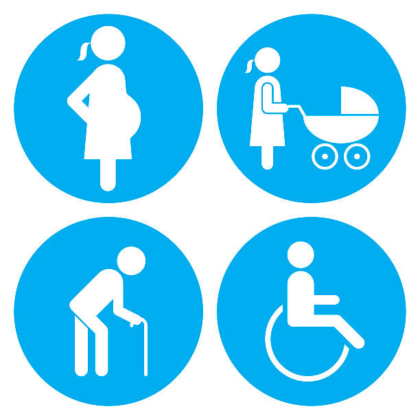 ilustraciones, imágenes clip art, dibujos animados e iconos de stock de pregnant, baby carriage, walking stick and wheelchair icons - embarazada